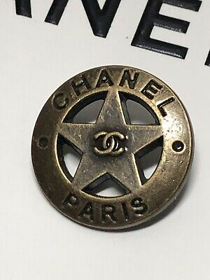 "Chanel CC Logo Button Dallas Star 3/4"" Matte Gold 22mm Jacket Replacement"