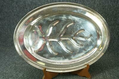 National Silverplate On Copper Meat Plate With Juice Well And Footed Base