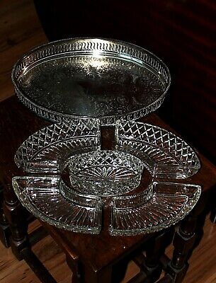 Beautiful Vintage Silver Plated Gallery Tray With 5 Crystal/Glass Cut Dishes