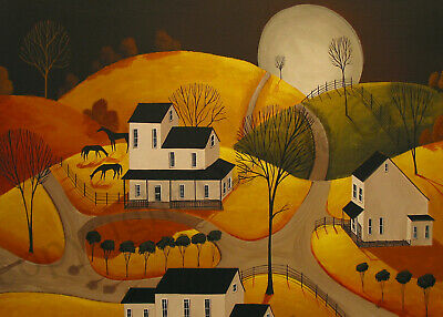 ACEO Folk art print AUTUMN EVENING GRAZE country night farm landscape moon DC