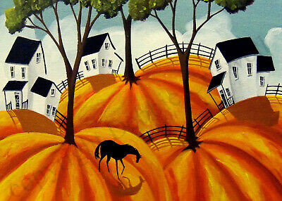 ACEO Folk art print PUMPKIN FIELDS odd weird abstract funky horse country sky DC
