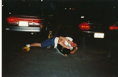 JU18 Vintage Party Photo 4x6 Guys Wrestle in Parking Lot Gay Interest