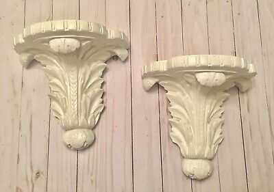 Beautiful Set Of Acanthus leaf Shabby Chic Vintage White Wall Sconces Shelves