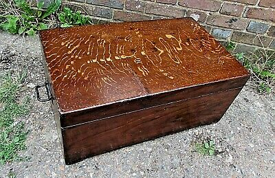 Antique, Stained  Pine Trunk/storage Chest for coffee table/Storage C.1920