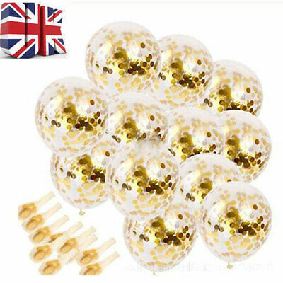 "10-20pcs 12"" Confetti Latex Balloons Rose Gold Helium Birthday Wedding Hen Party"