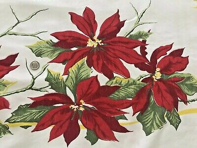 A+ Vintage Christmas Print Tablecloth 46X52 Candles Red Poinsettias Yellow Bows
