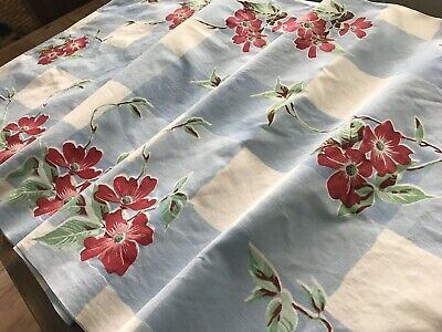 Vintage Cottage Blue White Check Red Blossoms Print Tablecloth 54X67 Cotton
