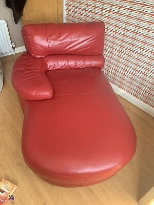 DFS RED LEATHER Chaise Longue Corner Sofa