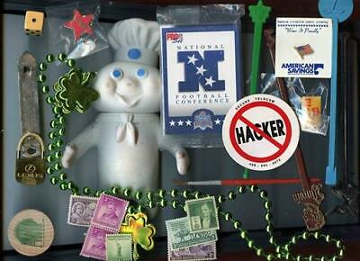 Junk Drawer Lot Doughboy Stamps Pens Swizzles Airline Buttons NFL Brass Lexus