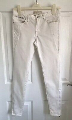 Ladies White/Ivory Skinny Zara Basic Denim Jeans With Ankle Zips - Size 4 (26)