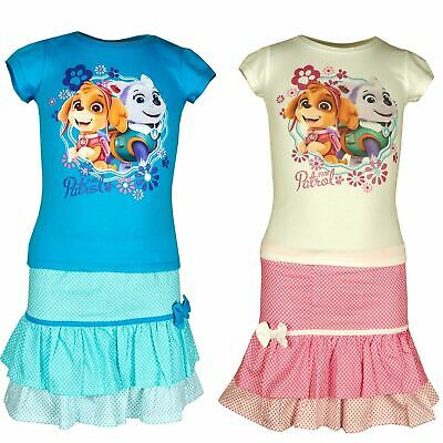 Girls ER1231 Paw Patrol Short Sleeve T-Shirt & Skirt Set Size 3- 6 Years