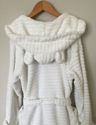 Immaculate NEXT Plush White Dressing Gown 9-10 Years Hood With Ears