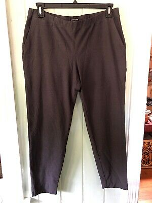 EILEEN FISHER CHARCOAL WASHABLE STRETCH CREPE KNIT SLIM LEG ANKLE PANT Large
