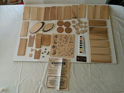 Vintage Woodburning Kit Pieces, Wood, Leather, Cork, Stamps, Paint, Patterns