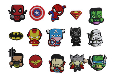 15 pcs Superheroes Shoe Charms for Croc & Bracelet &Jibbitz Wristband Kid Party