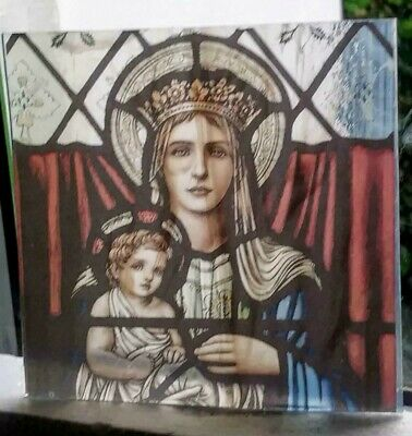 Stained Glass - Pre-Raphaelite Lady & child fired.transfer pane