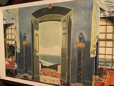 "Vtg Signed limited edition beautiful large art print  Jonna White ""Blue Room"""