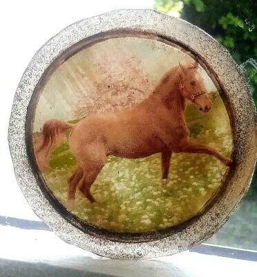 Stained Glass -  Horse roundel pane Kiln fired glass window horses