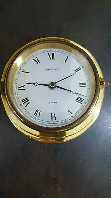 Vintage Brass Quartz Ships Wall Mounted Clock Fully Working
