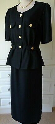 1980's BLACK TAILORED BRAID AND GOLD BUTTON TRIMMED SKIRT SUIT SIZE UK 14/16