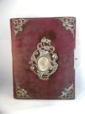 Lovely large antique French dark red velvet Art Nouveau photo album.