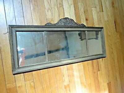 Antique Gilt Bronze Parlor Over the Mantle Mirror 3 Pane Frederick Loeser & Co