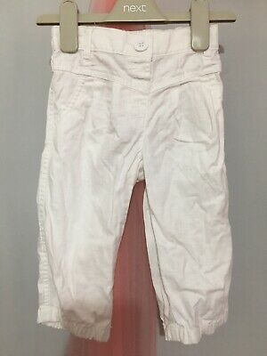 Cute Girls Next White Linen Cropped Trousers 2-3yrs🎀