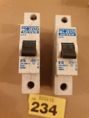 Proteus Geyer 3W Series 10Ka Type B C D Single Pole MCB Circuit Breaker