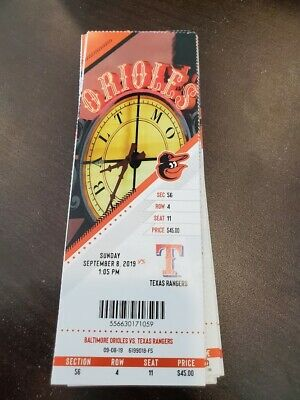 Baltimore Orioles Texas Rangers MINT Season Ticket 9/8/19 2019 MLB Stub