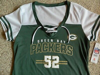 the best attitude d5ed5 a7604 CLAY MATTHEWS/GREEN BAY Packers women Small green&white jersey top w/gold  accent