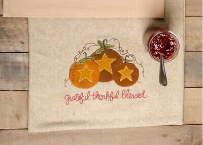 """New Primitive Fall Thanksgiving THANKFUL BLESSED STAR PUMPKIN TABLE RUNNER  36"""""""