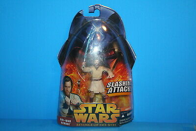 Star Wars 2005 Rots Mint On Card Obi Wan Kenobi Slashing Figure Weapon Hasbro
