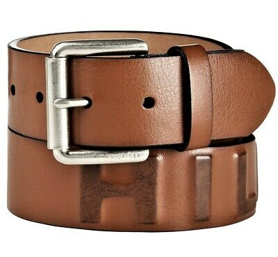 Tommy Hilfiger Raised Logo Mens Casual Belt Tan