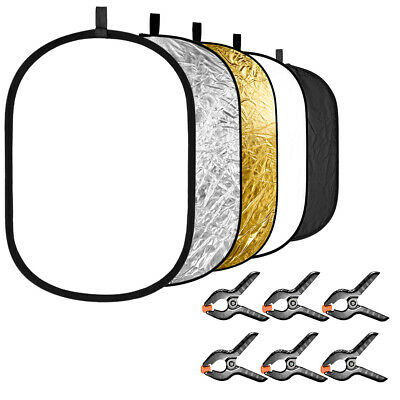Neewer 5-in-1 Photography Light Reflector with 6-Pack Backdrop Clamps Kit