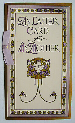 Lovely Antique 1914 Arts & Crafts An Easter Card For My Mother Greeting Card