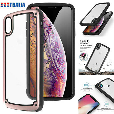 For iPhone XR XS Max X Case Hybrid Bumper Heavy Duty Shockproof Clear Back Cover