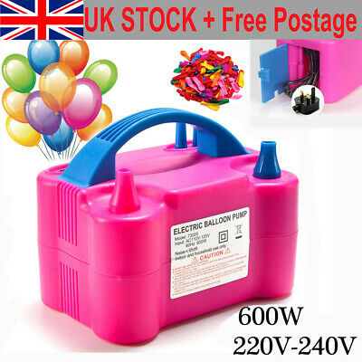 Portable 600W  Dual Nozzles Electric Balloon Pump Inflator Air Blower Party UK