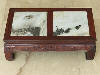 Antique Chinese Hand Carved Wood And Marble Footstool Footrest