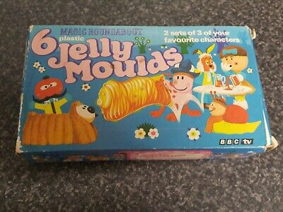 Magic Roundabout 6 x Jelly moulds Vintage with Box