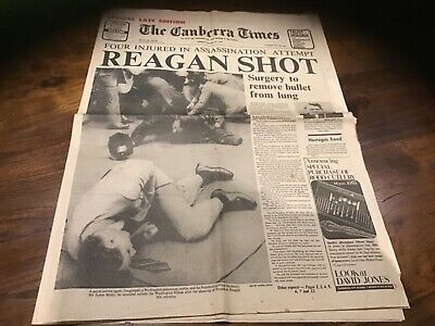 Old Canberra Times 1981 newspaper special edition Ronald Reagan Shot