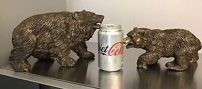2 Rare Victorian Antique Black Forest Style Bronze Bears Mother & Cub Heavy 7Kg