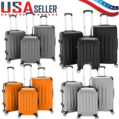 3Pcs Luggage Travel Case Bag ABS Trolley Spinner Carry on Hard Shell Suitcase