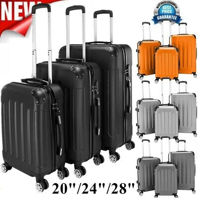 "3Pcs Travel Set Bag Trolley Spinner Suitcase Luggage ABS w/Lock 20"" 24"" 28"""