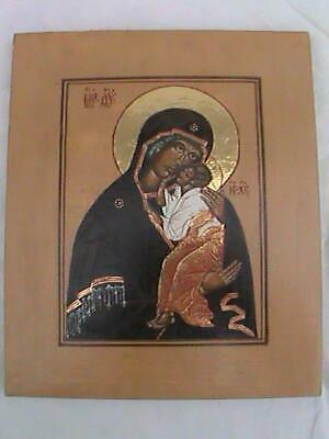 Antique Russian Hand Painted on Wood Panel Madonna Christ Child Icon