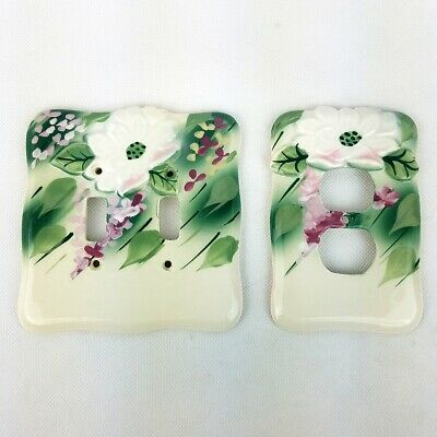 Vintage Porcelain Ceramic Light Switch Outlet Cover Plate Floral Double Set of 2