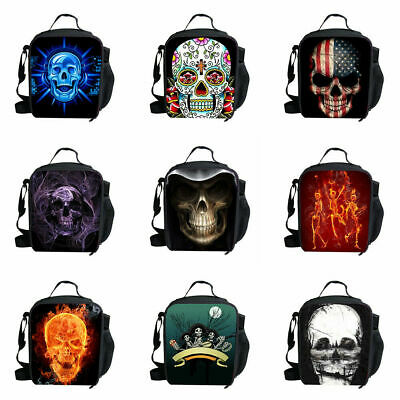 Back To School Skull Kids Boys Insulated Lunch Bag Princess School Thermal Box