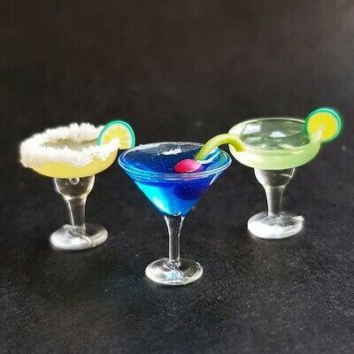 3x Mix Blue Hawaii Cocktail Wine Champagne Dollhouse Miniatures Beverage Supply