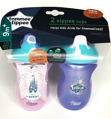 Tommee Tippee Spill Proof Sippie Cup 2 Pack 9m+ BPA Free NEW!