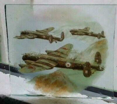 Stained Glass Lancaster Bomber  piece - Kiln fired vintage plane World War 2