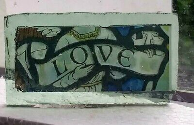 "Stained Glass  "" LOVE "" small Kiln fired.transfer piece fragment"